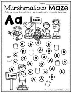 Make your way through the alphabet marshmallow maze. - Pre-k Camping Worksheets