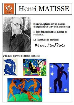 Fiche pratique sur Henri Matisse Henri Matisse, Art History Lessons, Art Lessons, 7th Grade Art, Montessori Art, Art Worksheets, Ecole Art, Preschool Art, Elements Of Art