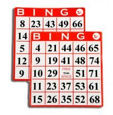 Bingo Hard Cards in Red, Blue, Green; x Cards; Numbers printed in black; Round, Smooth corners with glossy coating; Number Combinations, Bingo Cards, Novelty Items, Board Games, Blue Green, Numbers, Smooth, Printed, Unique