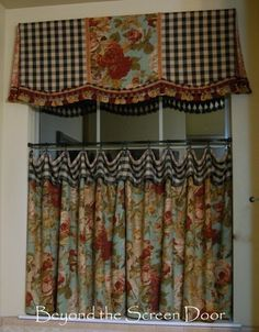 Custom Tie Up Balloon London Valance Curtain French Country Burlap - French country valances
