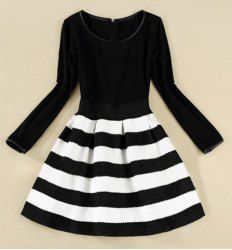 $21.54 Elegant Scoop Neck Color Matching Long Sleeve Women's Striped Dress