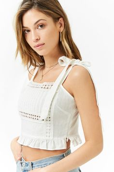 Product Name:Crochet Linen-Blend Crop Top, Category:top_blouses, Lace Top Outfits, Cute Outfits, Girl Outfits, Spring Outfits, Winter Outfits, Crop Top Styles, Crochet Top Outfit, Winter Shirts, Elegantes Outfit