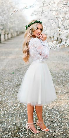 Bridal Guide: 27 Perfect Country Wedding Dresses ❤ short lace long sleeved country wedding dresses anna perevertaylo Full gallery: https://weddingdressesguide.com/country-wedding-dresses/