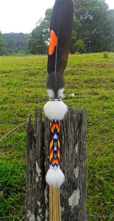 native american beaded talking stick raven design hand made with rabbit fur and australian black cockatoo feather on Etsy, $85.00 AUD