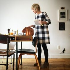 """I am on my way to visit my friend Esther of Purgatorypie Press at The Editions/ Artists Book Fair at The Tunnel in NY. I am wearing my favorite tunic, the """"Esme"""" tunic : you can find this simple sewing pattern in my new sewing book Lottas Everyday Style. #lottaeverydaystyle @stc_craft"""