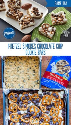 This crunchy, gooey, salty-and-sweet treat is bound to become your new go-to bar. Perfect for the sweet game day snack everyone craves. Made with chocolate chip cookies, pretzels, marshmallows and chocolate chips. Köstliche Desserts, Delicious Desserts, Dessert Recipes, Yummy Food, Tailgate Desserts, Holiday Desserts, Chocolate Chip Cookies, Chocolate Chips, Yummy Treats