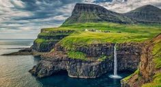 Mulafossur Waterfall, Gásadalur, Vágar, Faroe Islands, Kingdom of Denmark Amazing Destinations, Travel Destinations, Places To Travel, Places To See, Stage Photo, Kingdom Of Denmark, Faroe Islands, Beautiful Places To Visit, Countries Of The World
