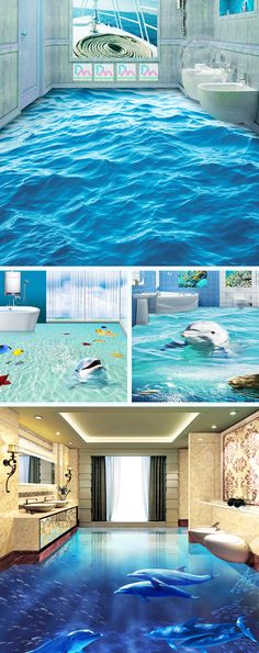 Wow, love these 3D floor murals, what a statement in a bathroom. Cute dolphins swimming around your home.