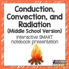 This SMART notebook presentation teaches the 3 forms of heat transfer- conduction, convection, and radiation. It begins by discussing the differences between solid, liquid, and gas, which is necessary to understand heat transfer. It provides examples of each type of heat transfer and gives students an opportunity to practice differentiating the 3 types. Science Ideas, Physical Science, Differentiation, Heat Transfer, Middle School, School Ideas, Physics, Opportunity, Presentation