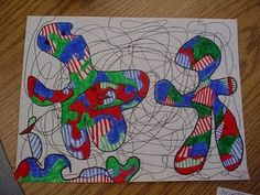 Drawing like Dubuffet *Use this idea as a trasition from a basic color fill, as it incorps pattern