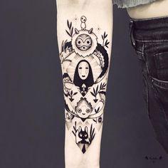 "3,169 Likes, 46 Comments - Violette Chabanon (@violette_bleunoir) on Instagram: ""Yeah merci Marguerite !! :)) #miyazaki #chihiro #totoro #sansvisage #haku #geometrictattoo #tattoo…"""