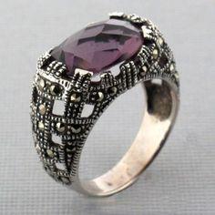Purple CZ Marcasite Sterling Silver Ring - Purple Leopard Boutique