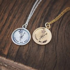 Wear a necklace that represents the memories. An exclusive design for laurelbox, the forget-me-not flower has long been a symbol of remembrance. These sterling silver or gold plated charms are hand stamped, measuring 17.5mm. Stamping is done skillfully by hand with a high quality stamp. A