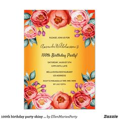 Any age birthday party rustic rose gold florals invitation rose, 90th Birthday Parties, Sweet 16 Birthday, Pink Invitations, Elegant Invitations, Birthday Invitations, Florals, Rose Gold, Rustic, 50th