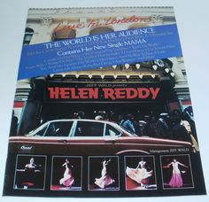 Helen Reddy Music Ad Live In London New Single Mama Full Color Advert