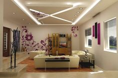 idees-deco plafond moderne suspendu-petites-lampes