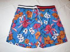 Men's swim trunks board shorts Tommy Hilfiger NEW L large 78B0912 461 blue florl #TommyHilfiger #Trunks