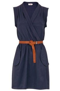 wrap belted dress