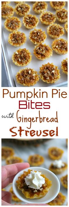 These Pumpkin Pie Bites with Gingerbread Streusel knock tradition on its ear, bu. Fun Easy Recipes, Best Dessert Recipes, Popular Recipes, Holiday Recipes, Cookie Recipes, Delicious Desserts, Yummy Food, Fall Recipes, Top Recipes