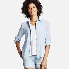Women's Premium Linen Long Sleeve Button-Front Shirt