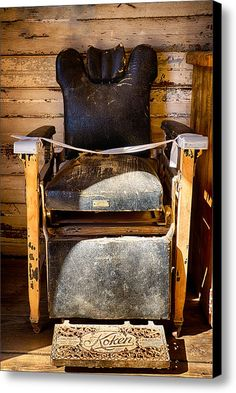 Vintage Koken Barber Chair Canvas Print Art By Saija Lehtonen