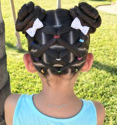 "✨""Don't let anyone ever dull your sparkle. Elastic crisscross ponies into pigtail buns for a hot summer day 👧🏻 The cute little bows are from . Hope you are having a lovely day! Girls Hairdos, Cute Little Girl Hairstyles, Girls Natural Hairstyles, Baby Girl Hairstyles, Kids Braided Hairstyles, Princess Hairstyles, Pretty Hairstyles, Toddler Hairstyles, Short Hairstyles For Kids"