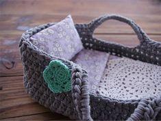 Recycled dolls crochet bed, t-shirt yarn, grey