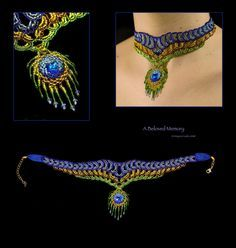 Beaded necklaced peacock feather