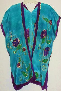 hand painted silk top Purple Lotus silk by HeavenOnEarthSilks, $95.00