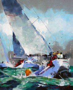 Sailboat Drawing, Sailboat Art, Sailboats, Nautical Painting, Sailboat Painting, Seascape Art, Abstract Art, Watercolor Sea, Art En Ligne