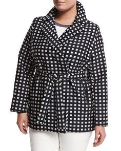 Tea Geometric-Print Raincoat, Plus Size, Navy Blue - Marina Rinaldi