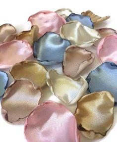 Blush pink, gold, ivory, champagne & dusty blue flower petals, rose petals, table decor, flower girl petals, wedding decor