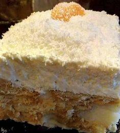 Greek Desserts, Cold Desserts, Greek Recipes, No Bake Desserts, Cookbook Recipes, Cooking Recipes, Custard Cake, Vanilla Cake, Recipies