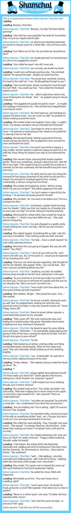 A conversation between LadyBug and Adrien Agreste / Chat Noir: