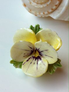 Pansy flower  brooch hand painted porcelain by HummingbirdIsland