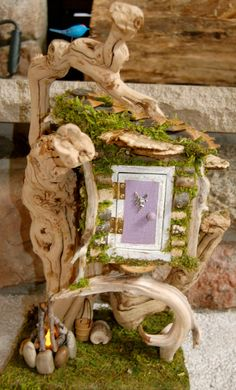 Fairy House with Furniture by FaeryGrrlGardens on Etsy, $70.00