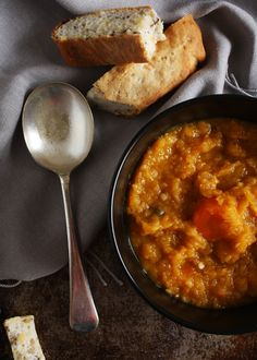 Carrot, pumpkin and lentil soup.