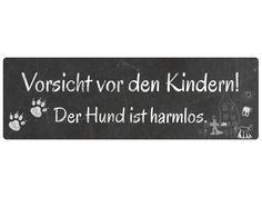 Metallschild Blech VORSICHT VOR DEN KINDERN Hund von Interluxe via dawanda.com