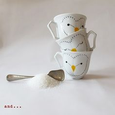 Idea for sharpie DIY Mugs- Note: They do have colored sharpies-Andrea Tachezy painted mugs
