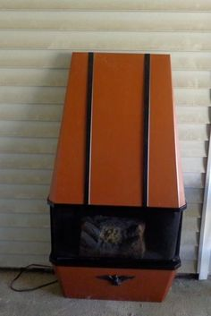 Details about Vtg Mid Century ORANGE Dyna Flame Electric Log ...