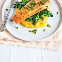 Truite à la ciboulette et purée de courge | Ricardo Ricardo Recipe, I Foods, Risotto, Meal Prep, Seafood, Prepping, Fish, Halloween, Ethnic Recipes