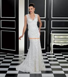 V-Ausschnitt Applikation Reißverschluss Brautkleider 2014