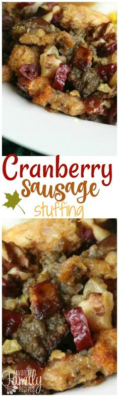 This Cranberry Sausage Stuffing is the best stuffing ever! It is a sweet and savory stuffing that is always a Thanksgiving favorite! via Favorite Family Recipes christmas food and drinks Turkey Recipes, Fall Recipes, Holiday Recipes, Christmas Recipes, Autumn Recipes Dinner, Holiday Snacks, Cranberry Recipes, Cranberry Sauce, Christmas Ideas