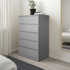 6 Drawer Chest, 6 Drawer Dresser, Chest Of Drawers, Teen Dresser, Ikea Malm Dresser, Gray Dresser, Ikea Bedroom Dressers, Clothes Drawer, Grey Drawers