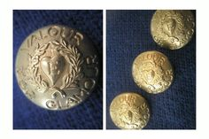 ButtonArtMuseum.com - ESCADA E Logo Valour for Glamour Gold Color Metal 3 Blazer Jacket Button Set