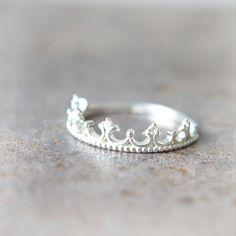 Tiara Ring in sterling silver. $28.00, via Etsy.