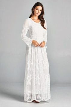 Beautiful Temple Dresses any LDS Woman Would Love This is it! My temple dress! Modest Wedding Dresses, Modest Outfits, Modest Fashion, Wedding Gowns, Bohemian Lace Dress, White Lace Maxi Dress, Modest White Dress, Bohemian Clothing, Temple Dress