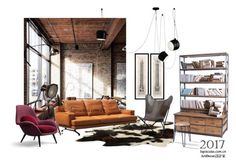 """""""Untitled #163"""" by annie-qiu on Polyvore featuring interior, interiors, interior design, home, home decor, interior decorating, Eichholtz, Flos, HORIZON and OTTO"""