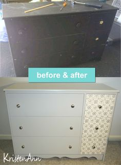 DIY dresser makeover using paint and wrapping paper.