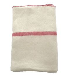 Wool Blanket - Natural with Red Stripe - Brook Farm General Store